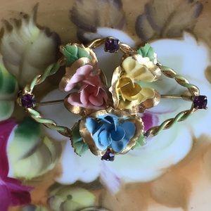 Vintage Austrian Amethyst Roses Brooch